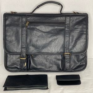Vintage Leather Briefcase with bus. Card holders
